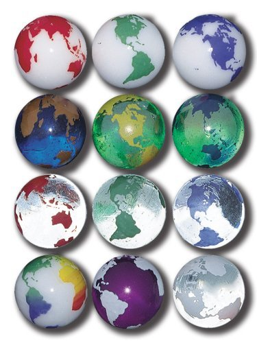 - Earth Marbles Complete Set in Assorted Colors, 12 In A Pouch, 1 Inch Diameter