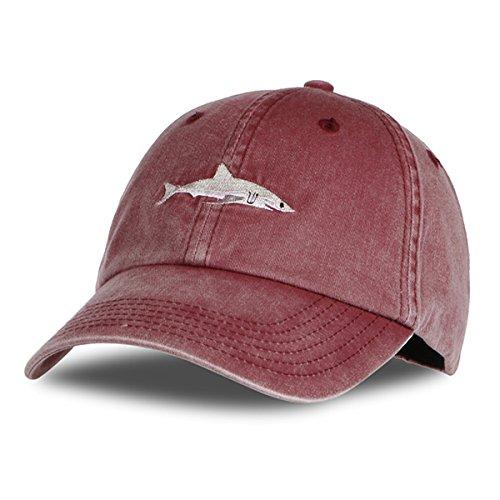 e1ea5e7faed Himozoo Women Men Baseball Cap 100% Cotton Washed Shark Embroidery Dad Hat.  by himozoo. Colour  Winered
