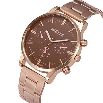 Charberry Man Crystal Stainless Steel Analog Quartz Wrist Watch