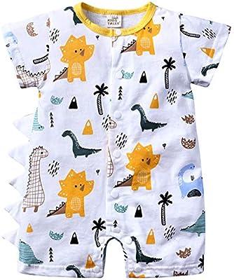 Bebé Niño Mameluco Mangas Cortas Mono Impreso Pelele Algodón Pijama Estampado de Dinosaurio Body Traje de Dormir Ropa de Verano: Amazon.es: Bebé