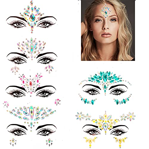 6 Sets Women Rhinestone Rave Festival Face Jewels, Body Temporary Tattoos, Mermaid Face Jewels Stick On, Rave Accessories for Festival Holiday Costumes & Makeup