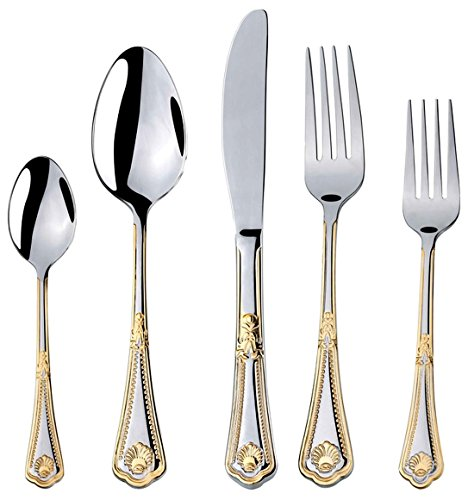 Stainless Flatware Collection (Venezia Collection 40-Pcs. Fine Flatware Set, Silverware Cutlery Dining Service for 8, Premium 18/10 Surgical Stainless Steel, 24K Gold-Plated Trim (gold sets only) (Seashell))