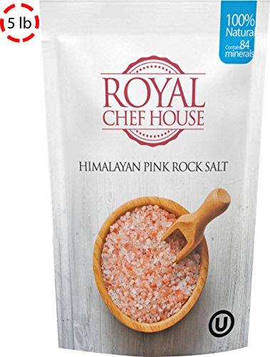 Pink Himalayan Salt (Coarse, 5lb) - 100% Natural Salt and Contains 84 Minerals - Himalayan Salts by Royal Chef (5 Lb Rock Salt)