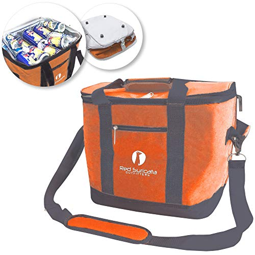- Red Suricata Collapsible Cooler Bag - Large Insulated Soft Cooler Bag for 50 Cans - Keeps Cool for 6 Hours - 30L Portable Cooler Bags Insulated - Soft Sided Travel Cooler (Heathered Orange/Grey)
