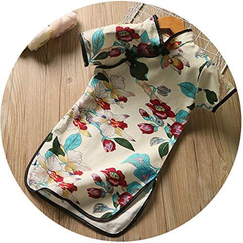 Summer Girls Chinese Floral Style Stand Collar Cheongsam Children Short Sleeve Dress,02,9