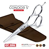 Suvorna 5' Men's Beard & Mustache Scissors with Genuine Leather Pouch, Comb & Tension Adjustment key. Trimming, Cutting and Styling Made Easy. Designed for Next Level of Beard & Mustache Grooming.