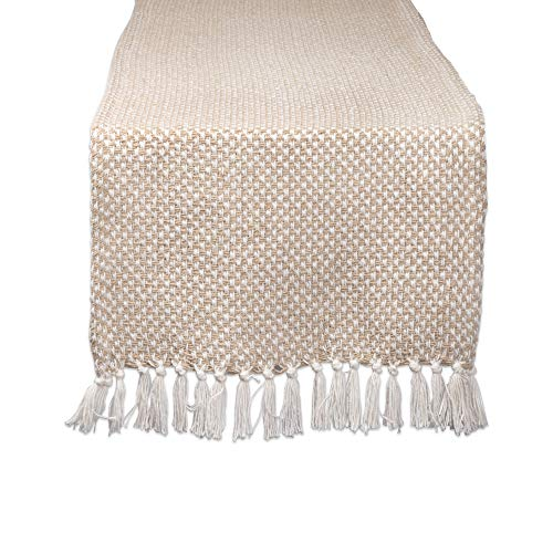 DII CAMZ11276 Braided Cotton Table Runner, Perfect for Spring, Fall Holidays, Parties and Everyday Use 15x72 Stone