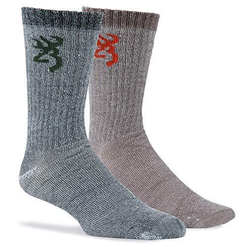 Browning Men's Everyday Wool Socks, 2 Pairs, Olive/Brown, L ()