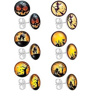 LilMents 6 Pairs Spooky Halloween Stainless Steel Mens Womens Unisex Earrings Set