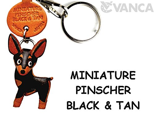 Miniature Split Ring - Miniature Pinscher Black&Tan Leather Dog Small Keychain VANCA CRAFT-Collectible Keyring Charm Pendant Made in Japan