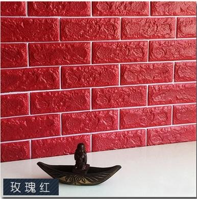 European 3D Wall Stickers Wall Brick Pattern Self-Adhesive Wallpaper Bedroom Living Room Decorative Waterproof Sticker,red,70CMX77CM by ZLJTYN
