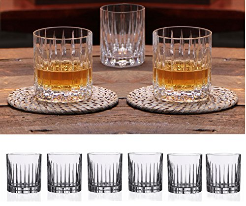 Modern Italian Glass - Double Old Fashioned Crystal Glasses, Set of 6, Perfect for serving scotch, whiskey or mixed drinks. (New York) pattern, 12 OZ