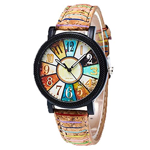 KanLin1986 Women's Wristwatches, Harajuku Graffiti Pattern, Leather Strap, Analogue Quartz Watches