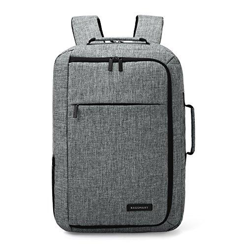 BAGSMART Gräumiger Rucksack Aktentasche Handgepäck für 15,6 Zoll Laptop Grau Grau
