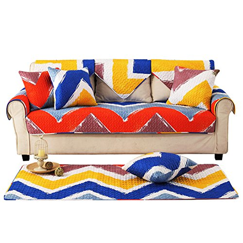 Sofa cover cotton,Dense quilted anti-slip dust proof colorful decorative sofa slipcover protector for living room four season-A 90x240cm(35x94inch) by YANGYAYA