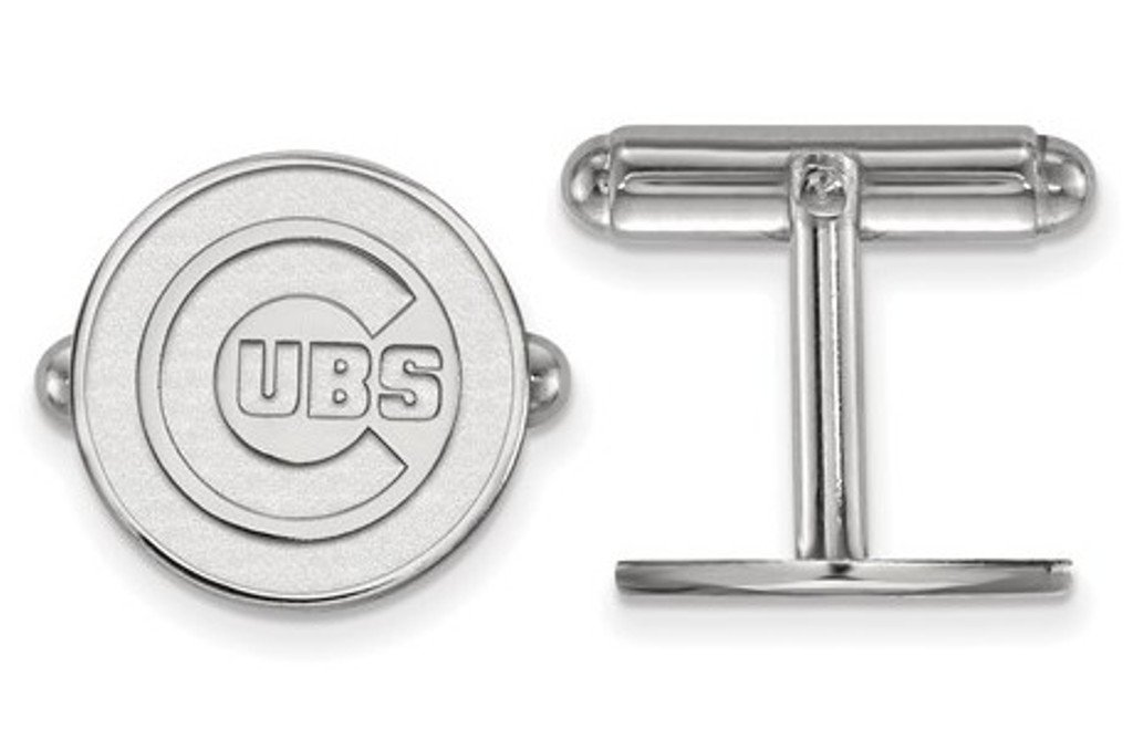 Rhodium-Plated Sterling Silver MLB Chicago Cubs Round Cuff Links,15MM