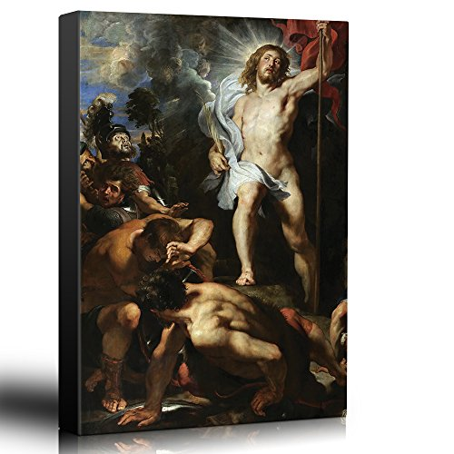 - wall26 - Oil Painting of The Resurrection of Christ (Centre Panel) by Peter Paul Rubens in c. 1611-12 - Baroque Style - Jesus - Canvas Art Home Decor - 16x24 inches