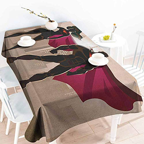Willsd Resistant Table Cover,Superhero Super Woman and Man Heroes in City Solving Crime Hot Couple in Costume,Modern Minimalist,W60X90L Beige Brown Magenta]()