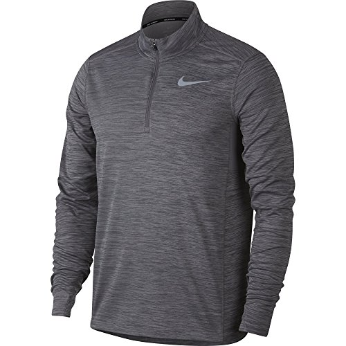 (NIKE Men's Pacer Half-Zip Top, Gunsmoke/Heather, Small)