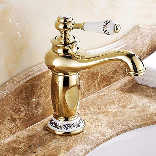 CFHJN HOME Sink Taps European style copper Hot and cold bathroom chrome Basin Single handle Seated golden Single hole