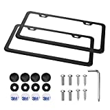 Emoh License Plate Frames Rust-resistant Frames Stainless Steel 2 Pieces with Screw Caps