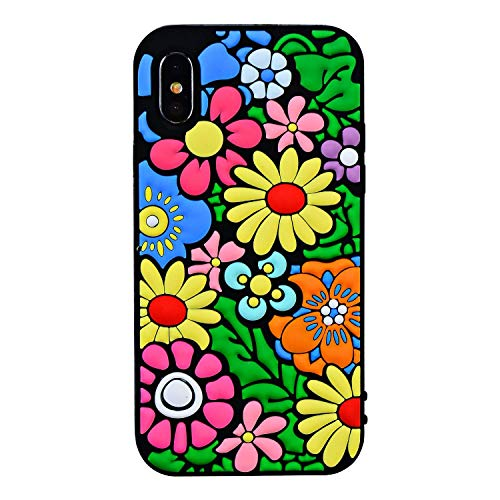 - Joyleop Flower Case for iPhone X/XS,3D Soft Silicone Colorful Vivid Cartoon Floral Pattern Cute Design Cover,Unique Kids Girls Lady Kawaii Skin,Creative Fashion Color Rubber Cases for iPhone X/Xs