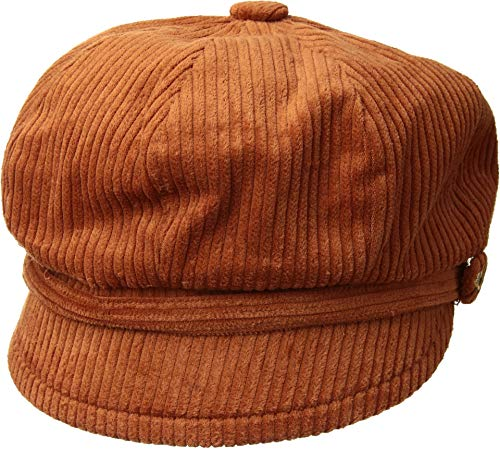 San Diego Hat Company Women's CTH8126 Wide Wale Corduroy Baker Boy Cap with Floral Embroidery Button Rust One Size