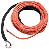 Yoursme Nylon Synthetic Winch Cable Rope with Sheath for SUV ATV UTV Winches Truck Boat Ramsey Car 1/4'' x 50'-7500LB+ Orange