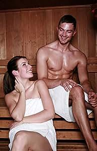 Carenesse - Toalla de sauna para hombre (con bolsillo y cierre de velcro, algodón 100 %, 50 x 140 cm)