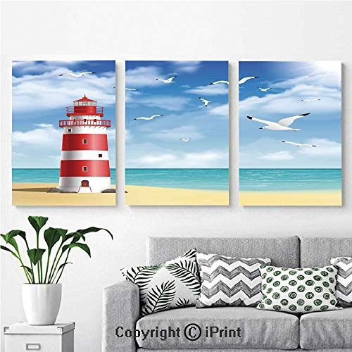 (Modern Salon Theme Mural Realistic Illustration Lighthouse on Calm Seashore Flying Seagulls Ocean Scenery Decorative Painting Canvas Wall Art for Home Decor 24x36inches 3pcs/Set, Vermilion Blue)