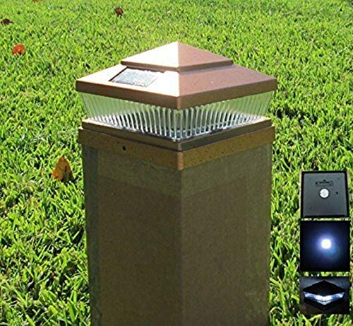 Exquisite Selebrity Solar Square Outdoor 6X6 Copper Finish 5 LED Fence Post Cap Light 3.2V Lithium-Ion 78Lumens 16 Pack