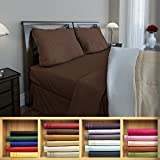 Clara Clark 1800 series Silky Soft 4 piece Bed Sheet Set King Size, Chocolate