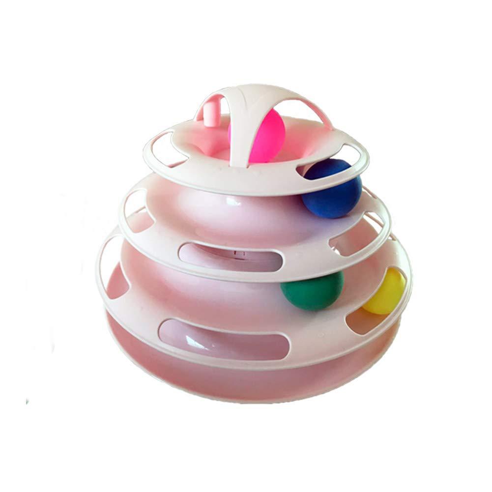 Torre de Pista con Pelotas para Mascotas y Gatos Bolas Circulares 4 Capas tama/ño /único Juguete Interactivo para Gato Tocadiscos Azul Rompecabezas de Juguete Cherish