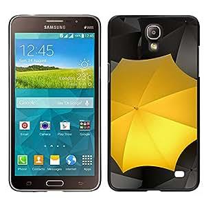 Caucho caso de Shell duro de la cubierta de accesorios de protección BY RAYDREAMMM - Samsung Galaxy Mega 2 - Paraguas Amarillo