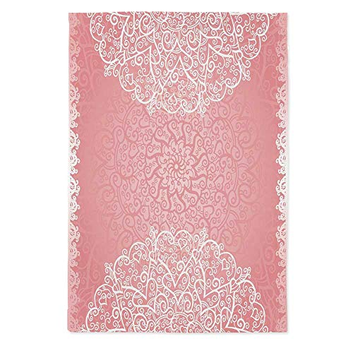 (Light Pink Custom Tablecloth,Doily Inspired Cute Lace Style Round Motifs with Ornate Intricate Hearts Decorative for Home & Office & Restaurant Table Tea Table,70.1''W X 84''L)