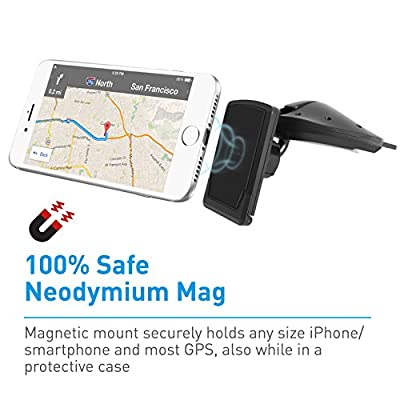 Macally Magnetic Car Cd Slot Phone Holder Mount with Super Strong Magnet for iPhone Xs XS Max XR X 8 Plus 7+ Plus 6s 5S 5 SE Samsung Galaxy S9 S9 Plus S8 Edge S7 Note 5, Cell Phones, GPS, (MCDMAG)