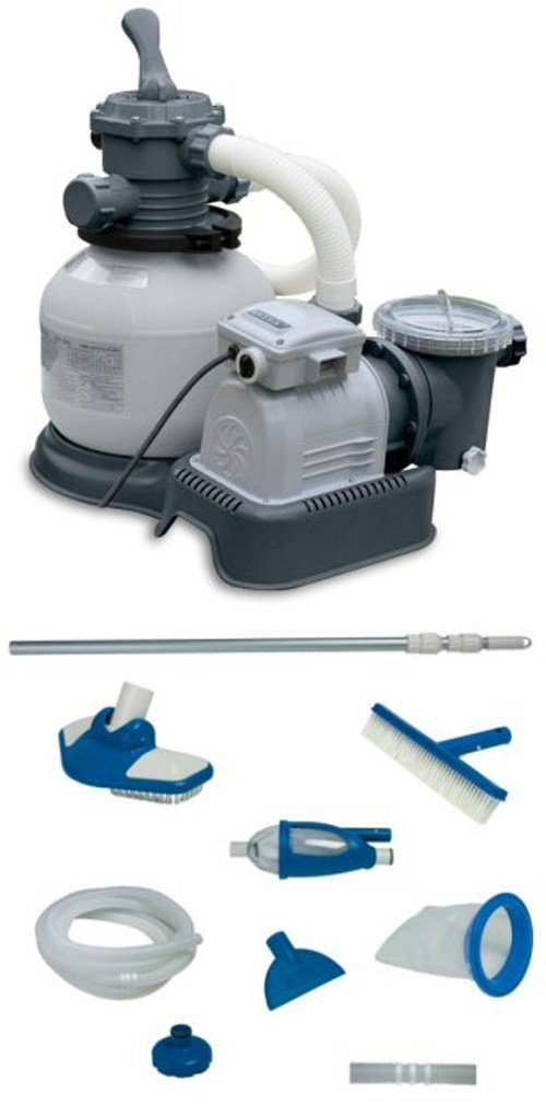 INTEX 2100 GPH Krystal Clear Sand Filter Pool Pump w/ Deluxe Maintenance Kit