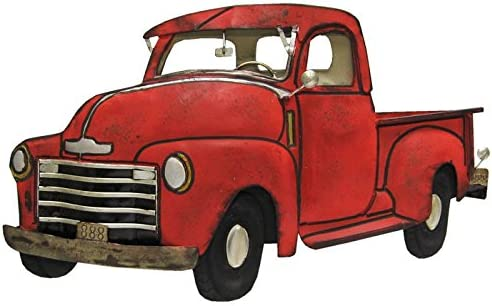 Everydecor Rustic Red Truck Metal Wall Decor