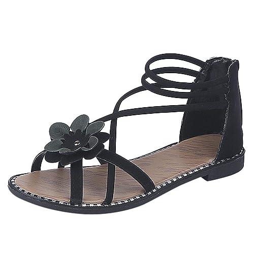 Logobeing Sandalias Mujer Cuña Alpargatas Plataforma Bohemias Romanas Floral Estilo Bohemio Causales Zapatos Solos Sandalias Verano