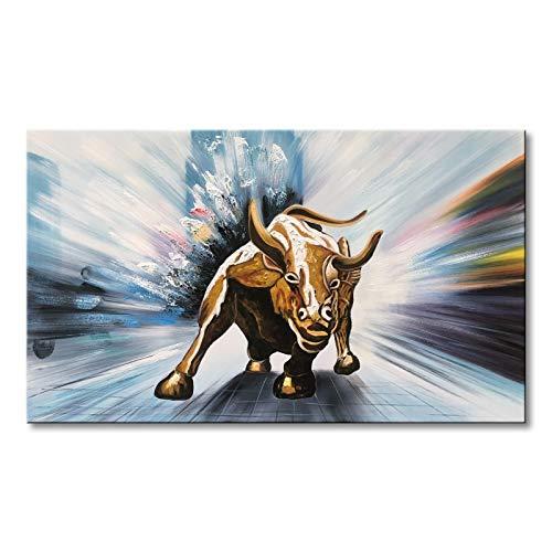 (Winpeak Art Handmade Canvas Wall Art Modern Contemporary Oil Painting Wll Street Bull Abstract Artwork Decor Hanging Framed Ready to Hang (Bull, 24x36 inch))