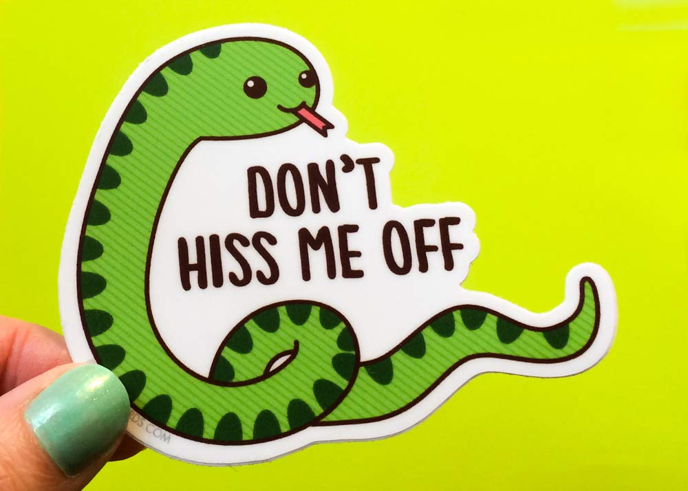 "Funny Snake Vinyl Sticker""Don't Hiss Me Off"" - Cute But Rude Cheeky Animal Sticker, Pun Laptop Bike Car Dishwasher Safe Decal"