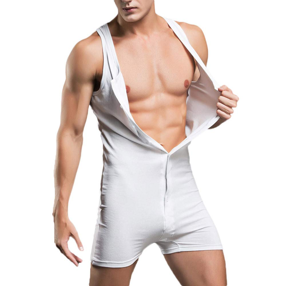 YKARITIANNA Men's Undershirt Underwear Sexy Tank Tops Teddy Bodysuit Nightwear Jumpsuits Shorts 2019 Summer White by YKARITIANNA Underwear