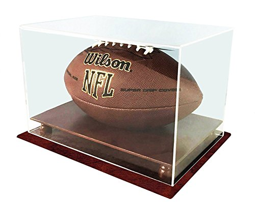 DECOMIL- Football Display Case 4 Sides Visible UV Protection, Cherry Finish