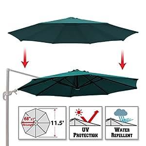 BenefitUSA Replacement Canopy for 11.5' ROME Cantilever Patio Umbrella Parasol Top Cover (Green)