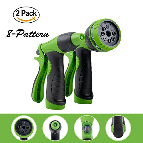 YeStar Garden Hose Nozzle Spray Nozzle Set, 8 Adjustable High Pressure Water Patterns for Watering Plants, Cleaning, Car Washing and Showering Dog & Pets - Set of 2, Green (Hand Nozzle)
