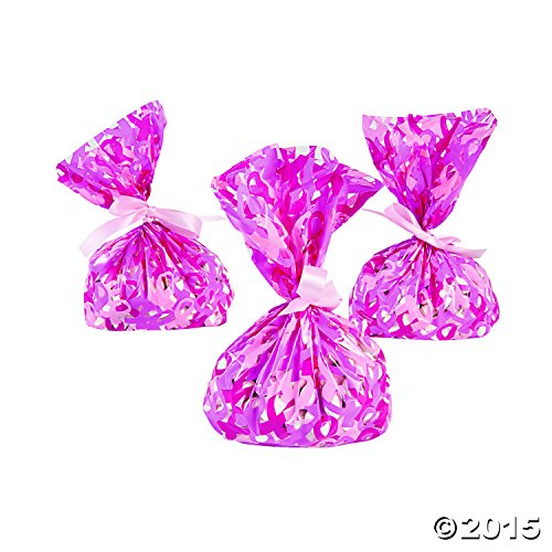 Pink Ribbon Breast Cancer Awareness Cellophane Goody Bags, 24 Count -