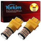 Yorkim Ultra Bright 3157 LED Bulb Amber, 3157 LED Brake Lights, 3157 LED Backup Reverse Lights, 3156 LED Tail Lights with Projector - 3056 3156 3156A 3057 4057 3157 4157 T25 LED Bulbs, Pack of 2