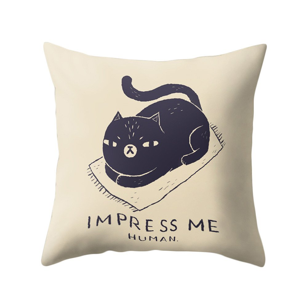 dragonaur Cute Cartoon Cat Print Soft Cushion Cover Throw Pillow Case Home Office Decor size Medium (1#)