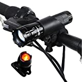 Sunspeed Waterproof Rechargeable LED Bike Light Set - LED Bright Headlight for Front and Tail Safety Light for Back of Bikes, Easy to Mount, No Tools Needed, For Road, Racing & Mountain Bicycles - 18650 Batteries Included - 100% No-hassle Replacement