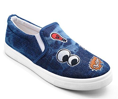 HeelzSoHigh Ladies 3 Pumps Shoes Flat 8 Denim Comfy Sizes Plimsoll Navy Casual Slip On Trainers UU4RHnrx